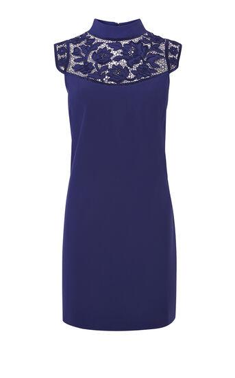 Karen Millen, FLORAL HIGH-NECK MINIDRESS Purple 0