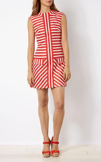 Karen Millen, STRIPED TWEED SHIFT DRESS Red/Multi 1