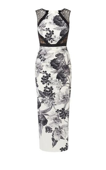 Karen Millen, FLORAL-PRINT PENCIL MAXI DRESS Black & White 0