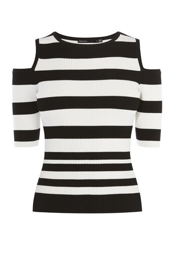 Karen Millen, COLD-SHOULDER STRIPE TOP Black & White 0