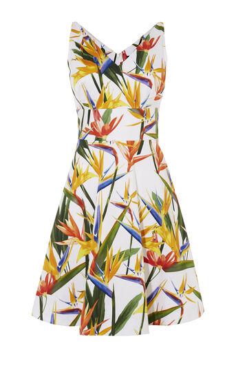 Karen Millen, BIRD OF PARADISE PRINT COTTON White/Multi 0