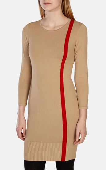 Karen Millen, STRIPED KNIT DRESS Camel 2