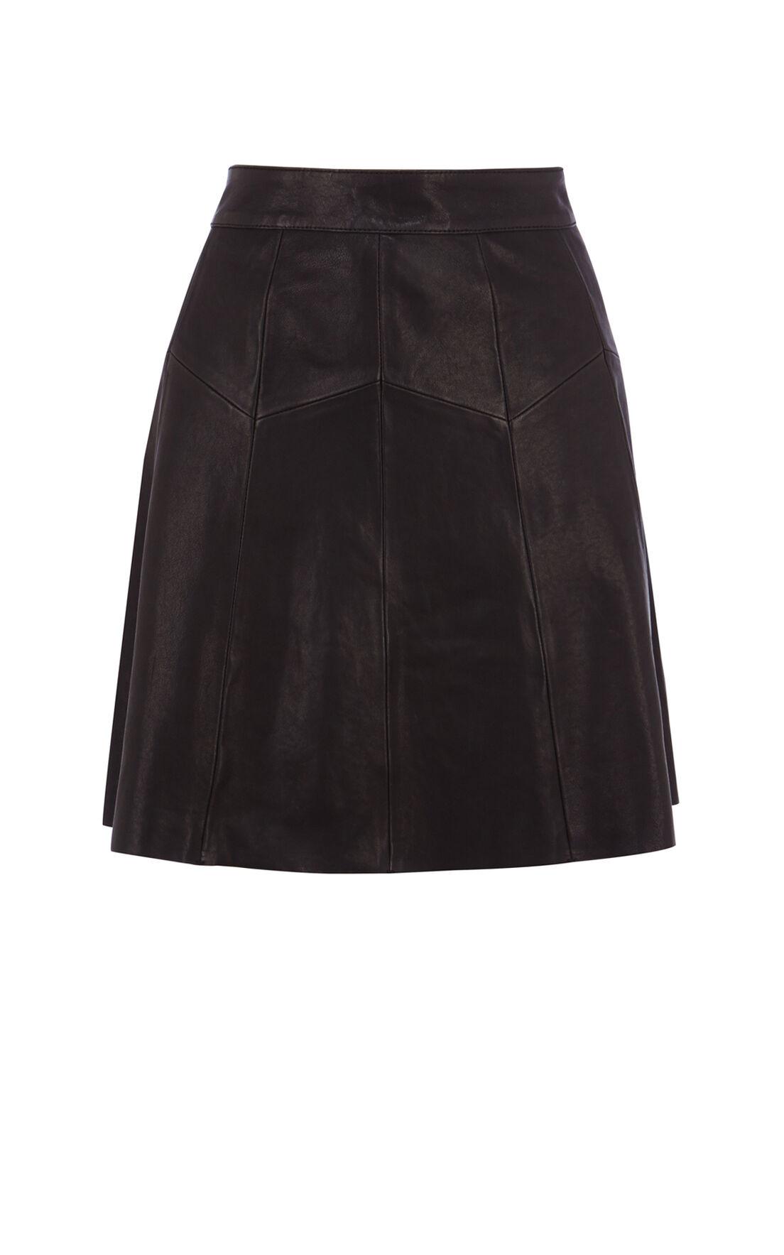 Karen Millen, Soft Leather Full Skirt Black 0