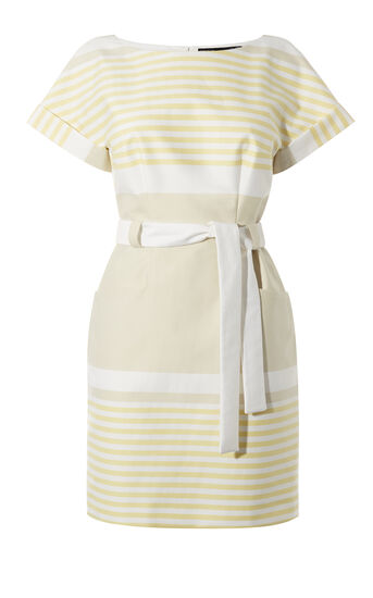 Karen Millen, SUNSHINE STRIPE DRESS Neutral 0