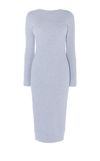 Karen Millen, CABLE-KNIT DRESS Pale Grey 0
