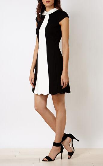Karen Millen, SCALLOPED MINI DRESS Blk & Ivry 1