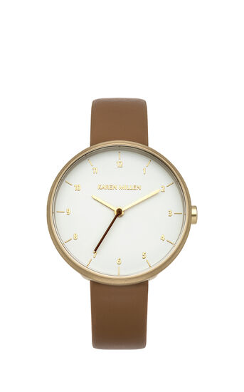 Karen Millen, MINIMAL LEATHER WATCH Brown 0