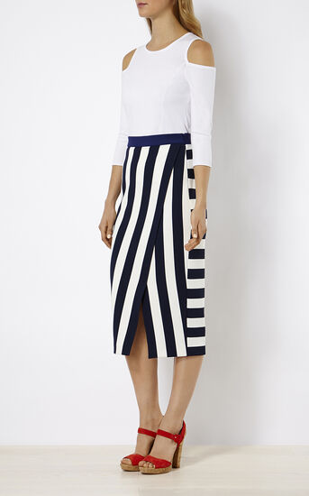 Karen Millen, STRIPED JERSEY SKIRT Blue/Multi 1