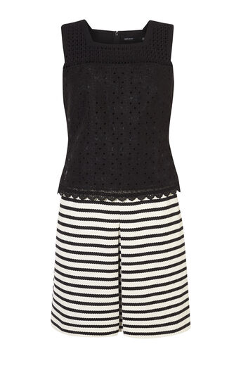 Karen Millen, STRIPE-AND-BRODERIE MINIDRESS Black & White 0