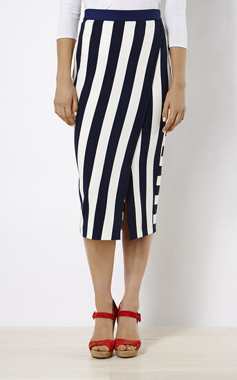 Karen Millen, STRIPED JERSEY SKIRT Blue/Multi 2
