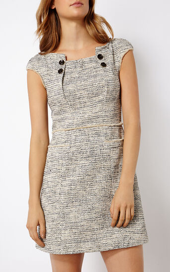 Karen Millen, BOUCLÉ TWEED SHIFT DRESS Blk&Wht 2