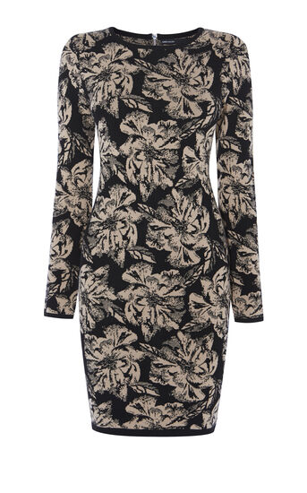 Karen Millen, FLORAL KNIT DRESS Black/Multi 0
