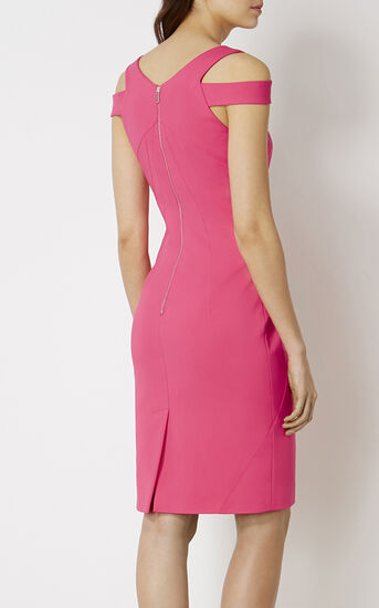 Karen Millen, COTTON PENCIL DRESS Pink 3