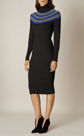 Karen Millen, CIRCLE YOKE DRESS Black/Multi 2