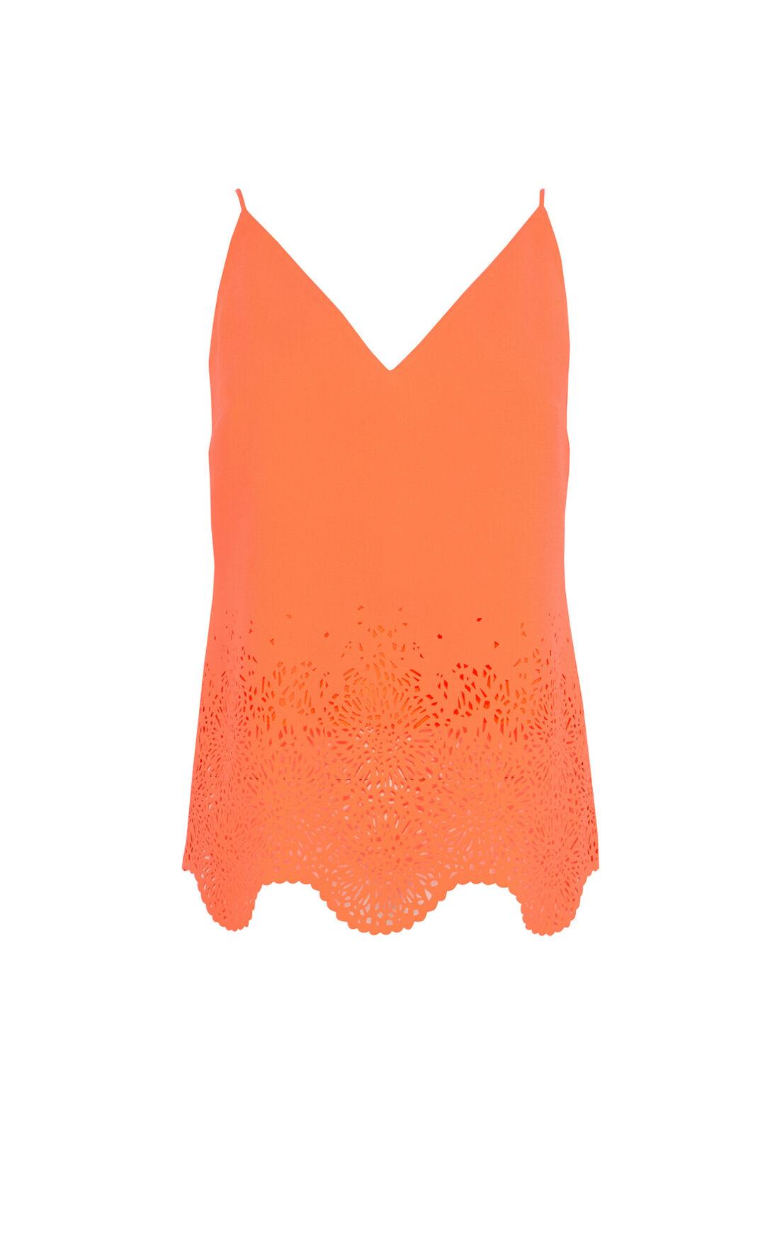 Karen Millen, Laser cut neon crepe camisole Coral 0