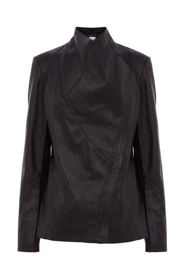 Faux Leather Cowl Drape Jacket