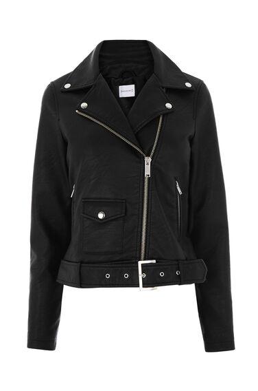 Faux Leather Crop Biker Jacket