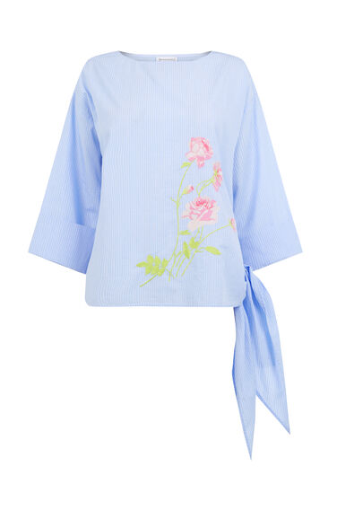 ROSE EMBROIDERED TIE SIDE TOP