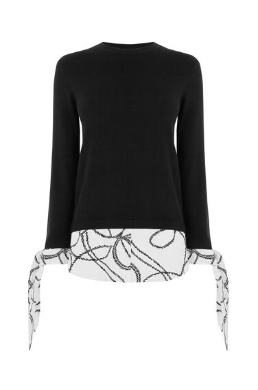 ROPE PRINT BOW CUFF JUMPER