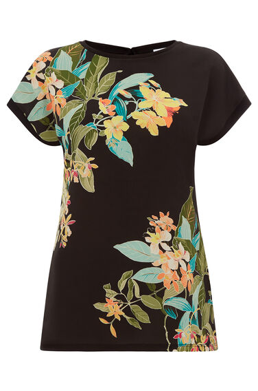 TROPICAL PRINT WOVEN FRONT TEE