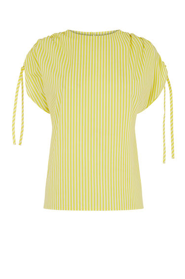 STRIPE RUCHED SLEEVE T-SHIRT