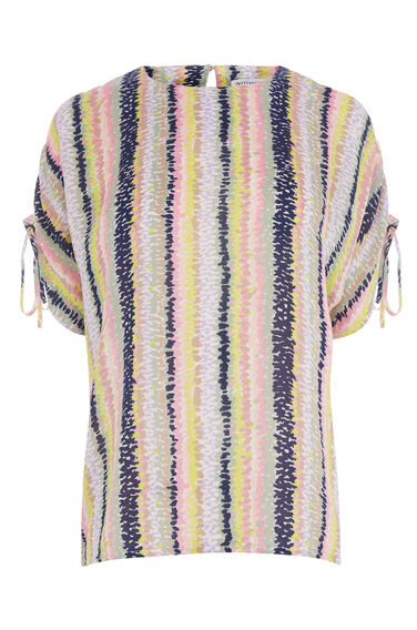 DASH STRIPE RUCHED SLEEVE TOP