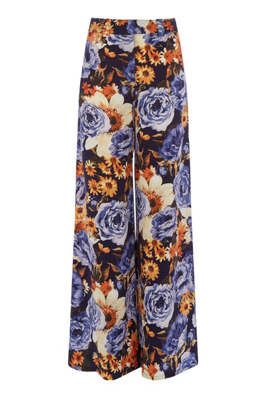 PEONY FLORAL SILK TROUSERS