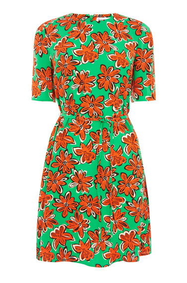 WOODBLOCK DAISY FLIPPY DRESS