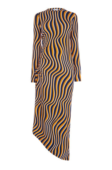 WARP PRINT RUCHE SIDE DRESS