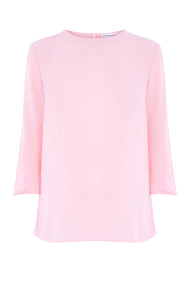 FLUTED SLEEVE TEXTURED TOP