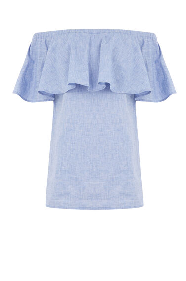 CHAMBRAY SMOCK BARDOT TOP