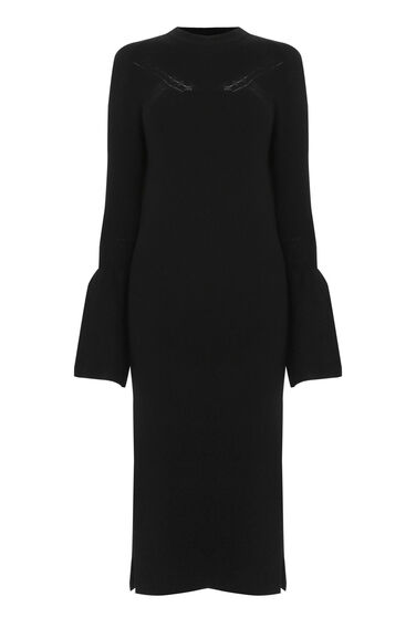 Warehouse, FLARE CUFF DRESS Black 0