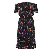 Warehouse, TRAILING FLORALBARDOT DRESS Blue Pattern 0