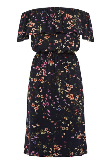 Warehouse, TRAILING FLORAL BARDOT DRESS Blue Pattern 0