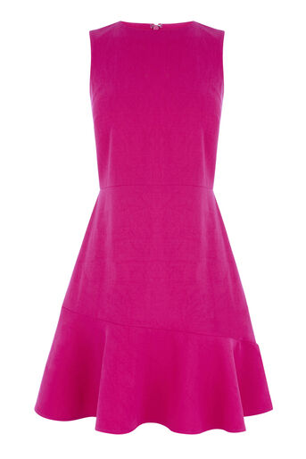 Warehouse, PEPLUM FLIPPY HEM DRESS Bright Pink 0