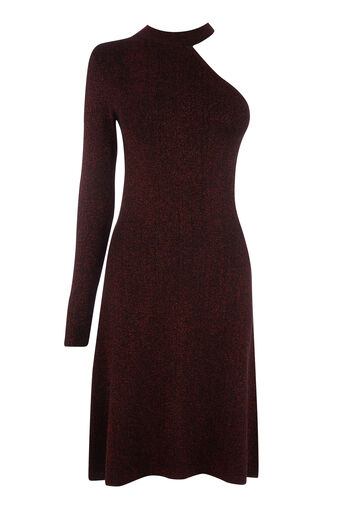 Warehouse, SPARKLE CHOKER NECK DRESS Dark Red 0