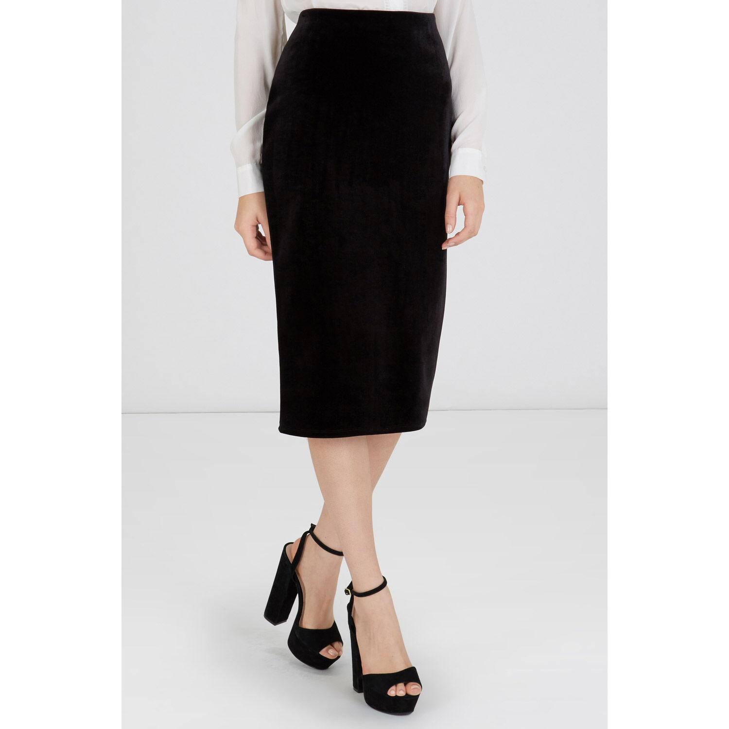 Warehouse, BONDED VELVET PENCIL SKIRT Black 1