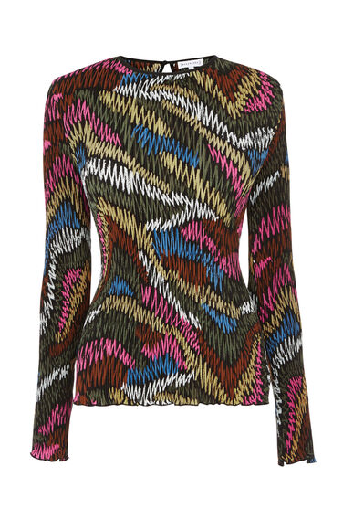 Warehouse, SQUIGGLE PRINT PLISSE TOP Black Pattern 0