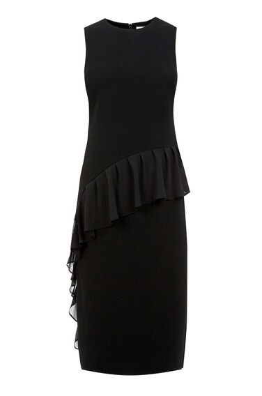 Warehouse, FRILL FRONT DRESS Black 0