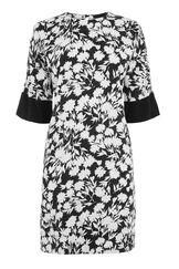 Warehouse, BRUSHED FLORAL SHIFT DRESS Black Pattern 0