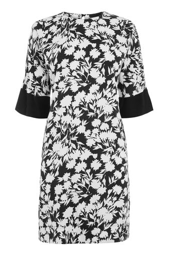Warehouse, BRUSHED FLORAL SHIFT DRESS Black Pattern 0
