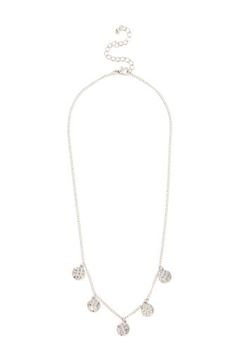 Warehouse, HAMMERED DISC CHAIN NECKLACE Silver Colour 0