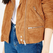 Warehouse, Suede Biker Jacket Tan 4