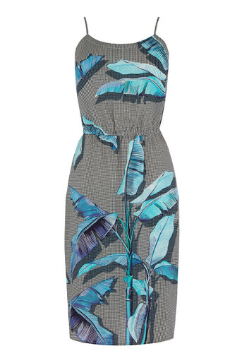 Warehouse, Palm Print Cami Dress Blue Pattern 0