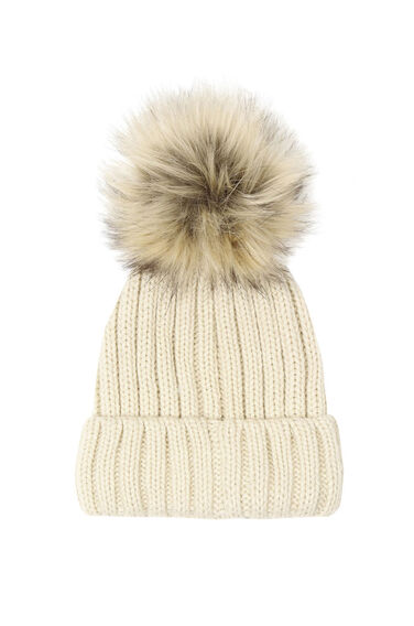 Warehouse, Faux Fur Bobble Hat Ecru 0