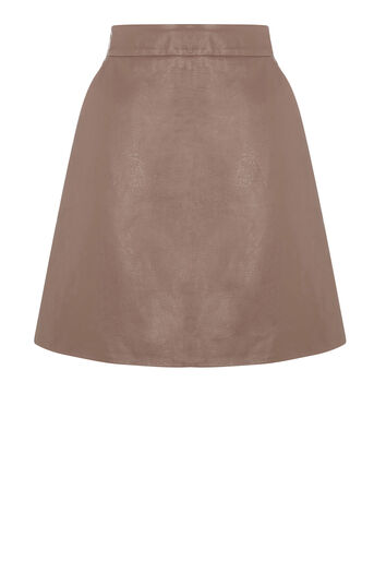 Warehouse, Faux Leather Pelmet Skirt Mink 0