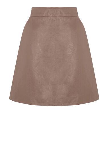 Warehouse, Faux Leather Pelmet Skirt Mink 0