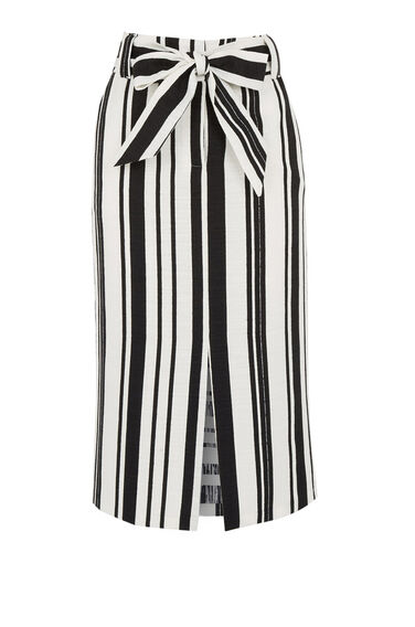 Warehouse, TEXTURED STRIPE PENCIL SKIRT Black Stripe 0