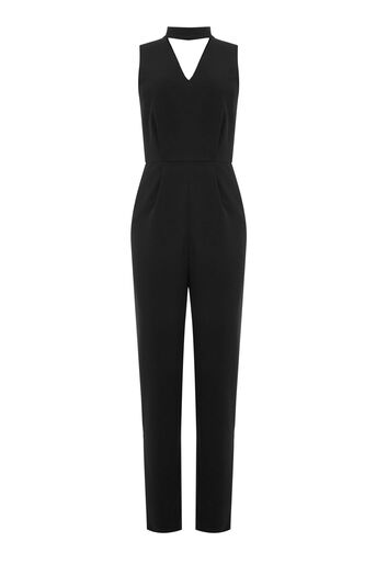 Warehouse, CUT OUT DETAIL JUMPSUIT Black 0