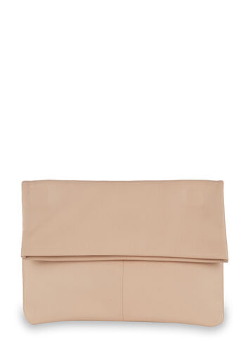 Warehouse, LEATHER FOLD OVER CLUTCH BAG Light Pink 0